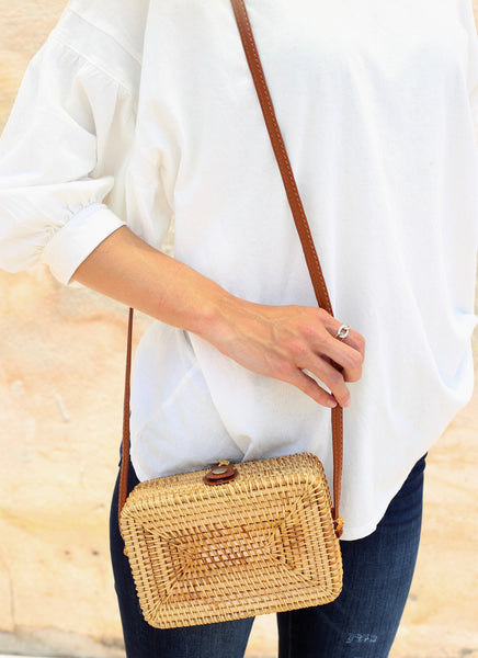 Samantha Square Straw Bag