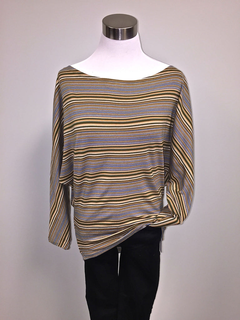 Tracy Nicole Long Sleeve Off the Shoulder Olive/Blue Stripe
