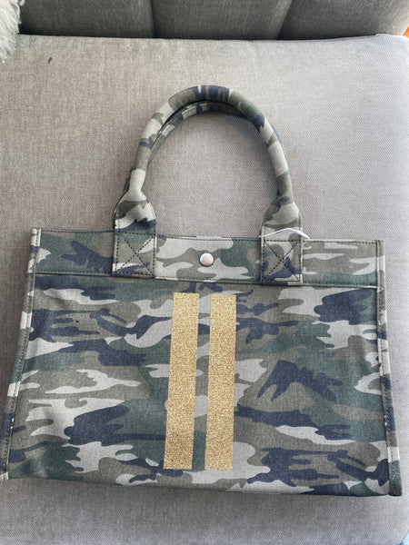 Midi East Gold Stripe Camo Bag
