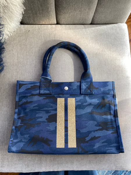 Midi East Gold Stripe Blue Camo