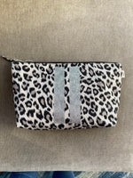 Silver Striped Leopard Clutch