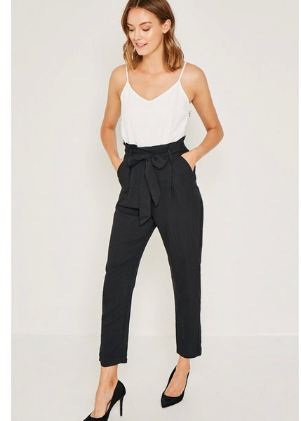 Black White Tie Front Jumpsuit