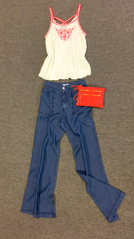 Wide Leg High Waist Denim Pant
