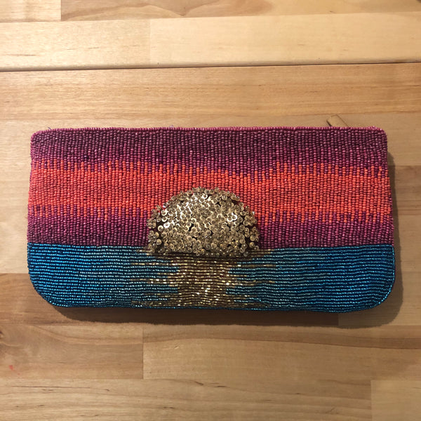 Beaded Sunset Crossbody Clutch