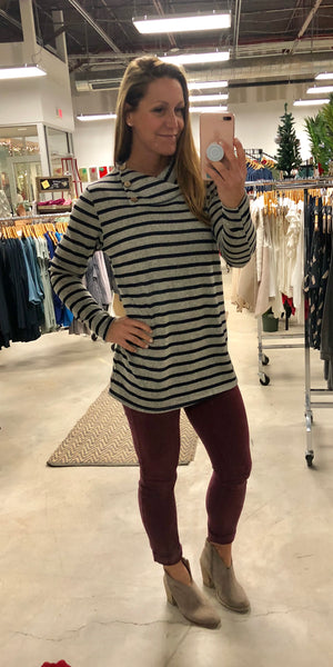 Stripe Funnel Neck Sweater with Elbow Patches
