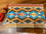 Beaded Turquoise Geo Linen Clutch