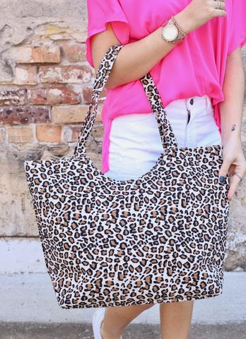 Ryan Leopard Tote With Zipper