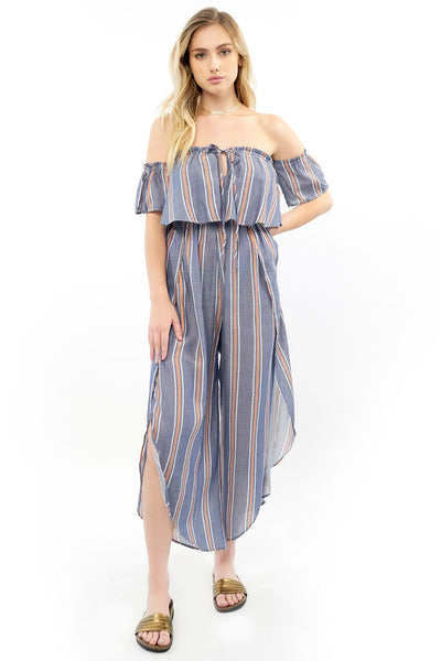 Off Shoulder Jumpsuit - Blue Terracotta Stripe