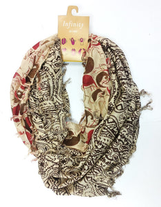 Grace & Glory The Mumbai - Multi-Patterned Paisley Infinity w Tassels Chocolate/Red