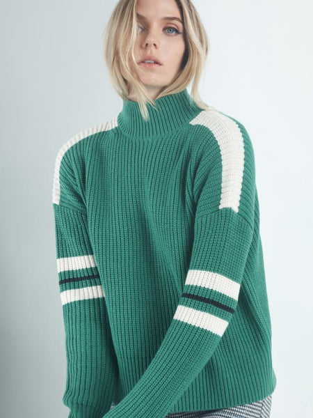 Speedway Sweater - Emerald, Moonstone, and Black
