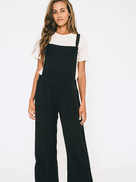 Tencel Wide Leg Overalls - Black