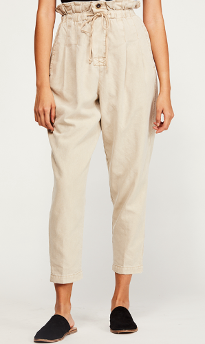 Margate Paperbag Waist Pleated Trouser Pants - Sand