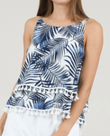 Tropical Printed Tank - Navy Blue