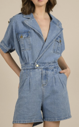Button Denim Romper