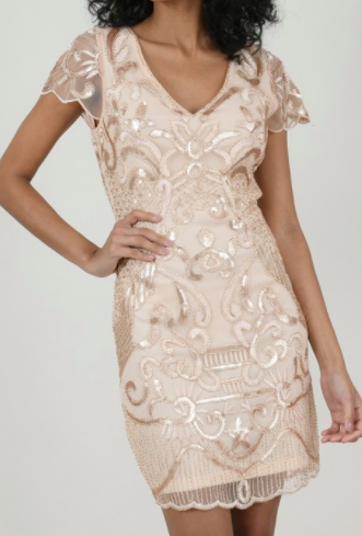 Sequin Pattern Dress - Rose Gold