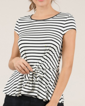 Striped Jersey Top - Off White