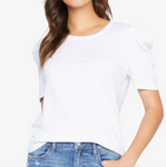 Pleated Sleeve Tee- White