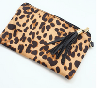 Morganton Pouch With Tassel And Wristlet Strap - Leopard