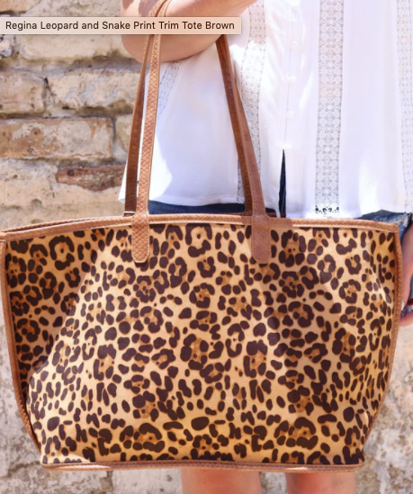 Regina Leopard And Snake Print Trim Tote-Brown