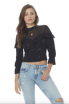 Lace 3/4 Sleeve Blouse - Black