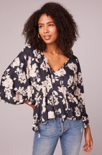 Mendocino Black and Ivory Flare Blouse