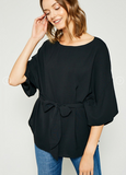 It's A Cinch Short Sleeve Tie-Front Blouse