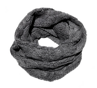 Cable Knit Infinity Scarf -  Heather Grey