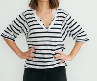 Head in the Clouds Stripe Top - Ivory/Combo