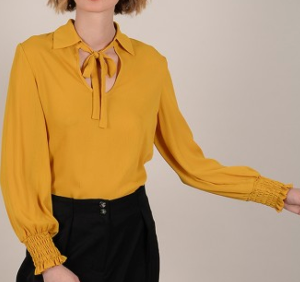 Long Sleeve Woven Blouse - Saffron Yellow