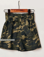 Camo Belted Paperbag Shorts