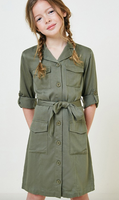 Button Down Cargo Shirt Dress