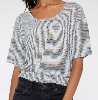 Striped Smocked Tee- Black And White