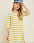 Button-Down Cross Back Stripe Dress - Honey