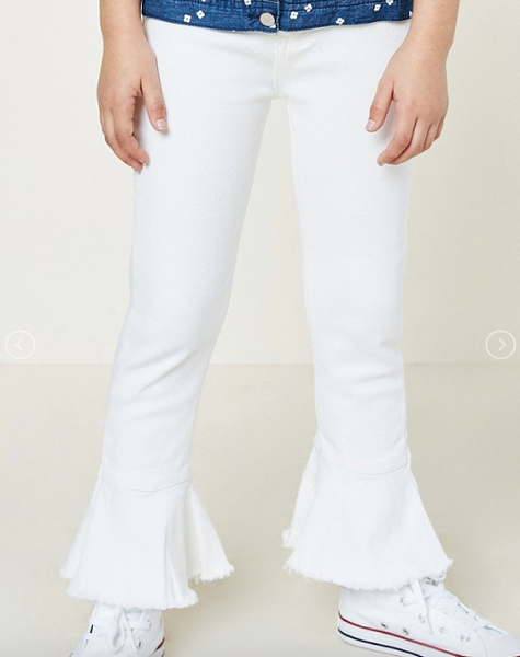 Cropped Frill Flare Jeans - White