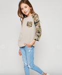 Long-Sleeve Camo Baseball Tee - Taupe