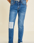Crochet Patch Jean - Light Denim