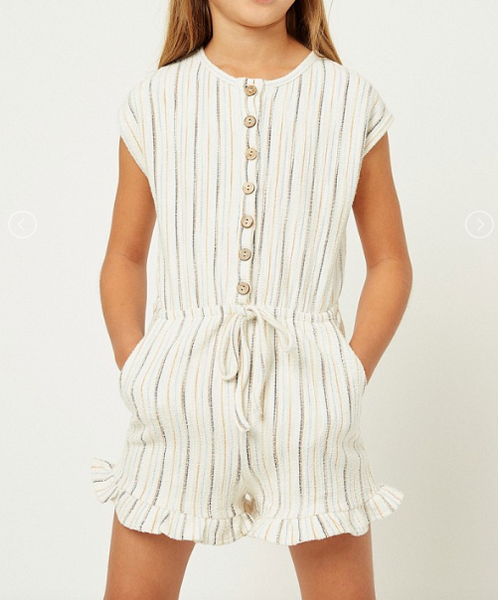 Stripe Button-Down Romper - Mustard