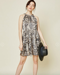 Leopard High Neck Swing Dress - Grey