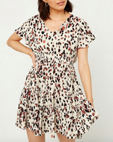 Dotted Smock Waist Ruffle Dress - Ivory