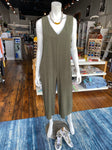 Ipsum V-Neck Side Button Jumpsuit - Olive