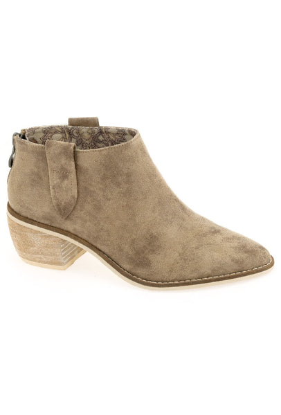 Rainier Burnished Micro Cowsuede Bootie - Taupe
