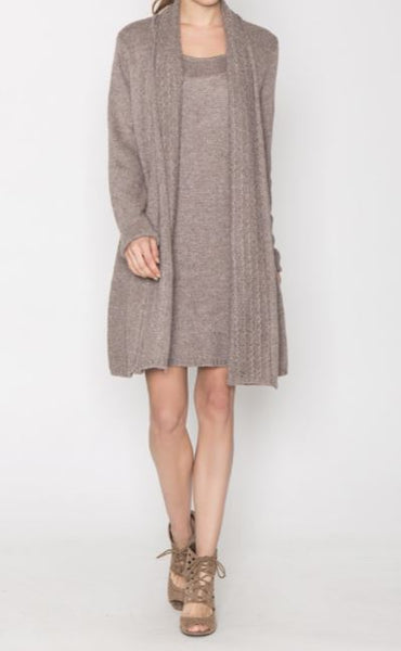 Long Sleeve Sweater Dress with Built in Cardigan