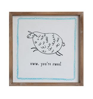 Framed Wall Decor with Lamb - Aww, You're Sweet