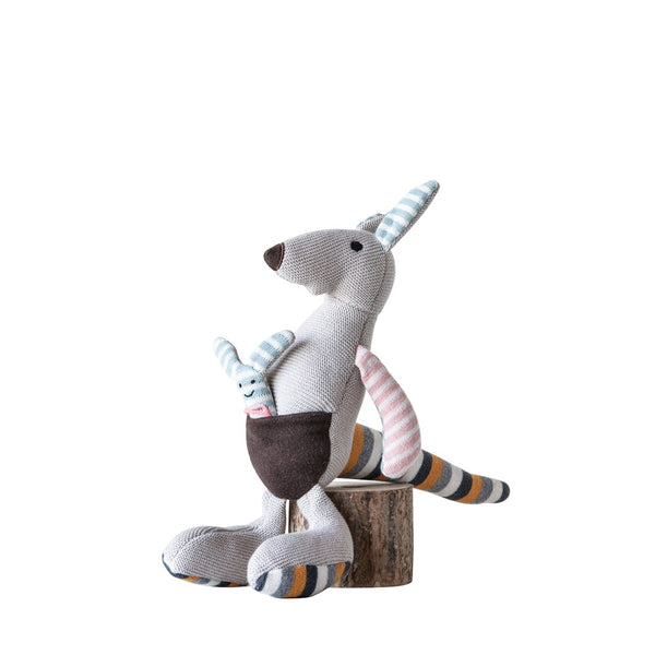 Cotton Knit Kangaroo with Joey - Multi Stripe