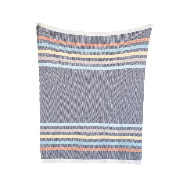Cotton Knit Baby Blanket - Grey with Multi Color Stripes