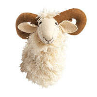 Wool and Felt Ram Head Decor - White