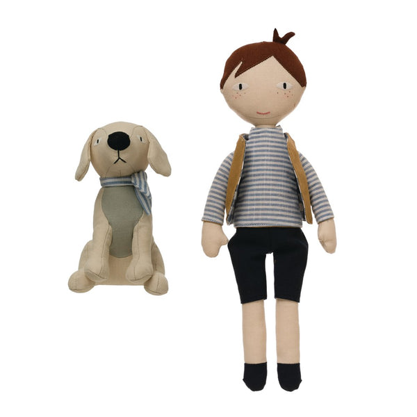 Cotton Blend Boy Doll and Dog Set of 2