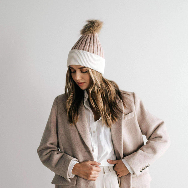 Erin Beanie - Blush and White