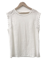 Cotton Linen Tee with Lace Sleeve