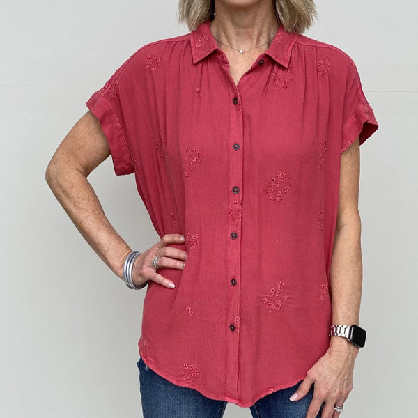 Flora Camelia Rose Flowy Button Down Shirt